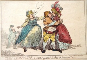 Caricature of the Duchess of Devonshire with Lady Crewe by Thomas Rowlandson.
